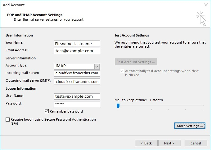 Setup your mail with Outlook PLESK - FranceDNS